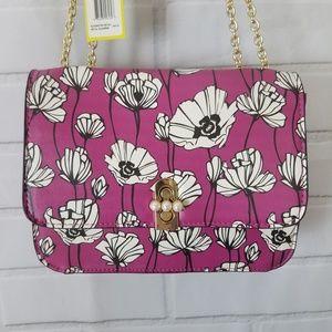 Magenta Poppy Print Saddle Bag Mini Crossbody
